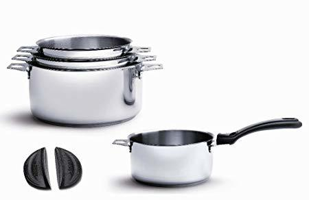 Lot de 4 casseroles De Buyer Twisty 14-16-18-20 cm inox compatible induction, poignée amovible + Clips Silicone